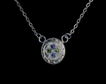 Art Deco - Sapphire & Emeralds - Hand Engraved - Sterling Silver Pendant - Traditional Pave