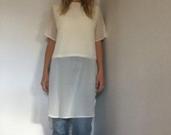 Sheer White Vintage Tunic Shirt Dress