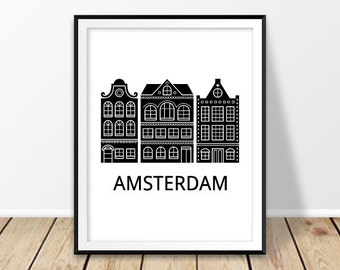 Dutch print, Amsterdam print, the Netherlands, Holland, Black and white city prints, Dutch art, Amsterdam poster, Dutch houses, Printable