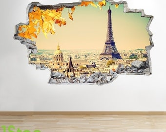 Paris Wall Sticker 3d Look - Bedroom Lounge Eiffel Tower City Wall Decal Z12
