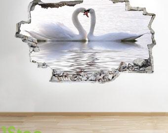 Swan Lake Wall Sticker 3d Look - Bedroom Lounge Swan Love Lake Wall Decal Z253