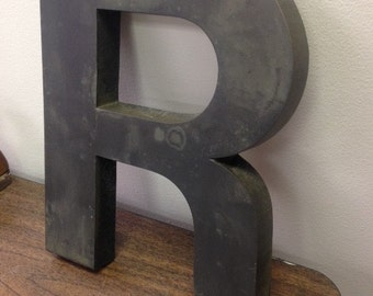 "The Letter ""R"", Bronze letter R that came off of a building sign.  12"" bronze metal letter, Large letters, Bronze letters, Oxidized Letters"