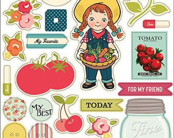 """October Afternoon """"Farm Girl"""" Chip 'n Stick Chipboard Stickers, Chipboard, Scrapbooks, Cards and Crafting"""