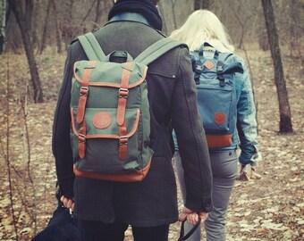 Canvas backpack, Mens Backpack, Laptop Backpack, Hipster Backpack, Travel Backpack, Gift For Men, Rucksack, Laptop Bag, Waterproof Backpack