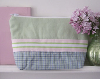 Pencil case pouch green blue with Ribbon trim and stand ground