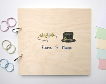 Memory album wood wedding bride and groom can be customized