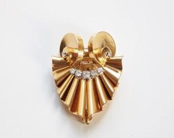 18K French Hart brooch