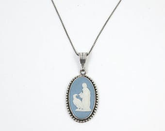 925 Sterling Silver Wedgewood Porcelain Cameo Necklace - Hebe the Goddess of Eternal Youth & Zeus- Blue Jasperware