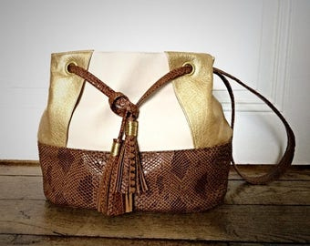 Bag bucket purse chic camel and gold with PomPoms