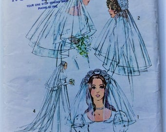 Vintage 1970's Simplicity sewing pattern 9826 - set of bridal headpieces and veils