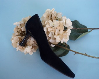 Black Stuart Weitzman Suede Kitten Heels / Minimalist Square Toe Classic Pumps / US 7 / UK 5