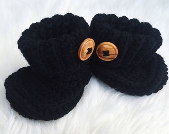 Baby Booties // 3 Month // Black