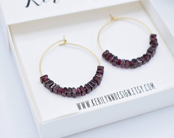 Garnet stones on Gold Toned Hoops