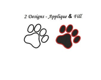 Paw Embroidery Design - 2 designs instant download Paw Applique design 2,3,4,5 inch each