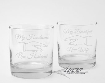 NEWLY WEDS Engraved ROCKS Glass Set  ~ My Beautiful New Wife ~ My Handsome New Husband ~ Whiskey Glass Gift Set ~ Wedding ~ Newly Married