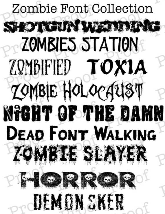 Knitting Fonts For Mac : Zombie font collection from kidgeekpress on etsy studio