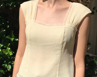 Perfect Cream/Buttercup-White Vintage Square-neck Ribbed Gauzy Silk Blouse