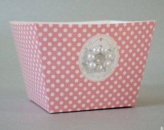Polka dot wedding box / Polka dots favor box / Pink white favor box / wedding favor boxes / favor boxes wedding / wedding table decorations