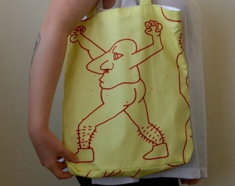 Hand made tote digital print fabric of hand drawn illustration- silly ones!