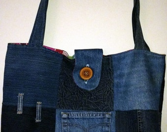 Multi-user recycled denim bag