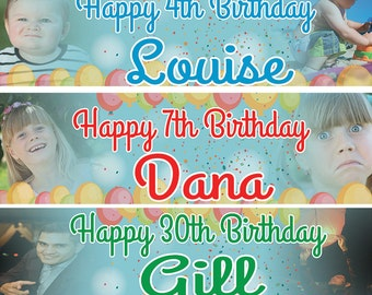 2 x Personalized Birthday Banner Party Balloon Photo Kids party- any name ages.photos