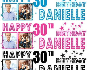 2 x Personalized Birthday Banner Party Stars Photo Kids party- any name ages.photos