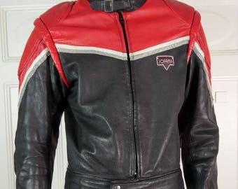 Swedish Vintage Leather Motorcycle Jacket Men's, Distressed Leather, Jofama Leather Jacket, Motorcycle Racing Jacket: Size M (38-40)
