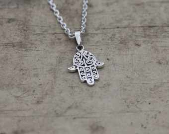 Hamsa Necklace, Hamsa Hand, Hamsa Necklace Sterling Silver, Hand of Fatima Necklace, Silver Pendant, Pendant Necklace, Silver, JP0007