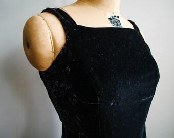 90's Mini Black Velvet Dress