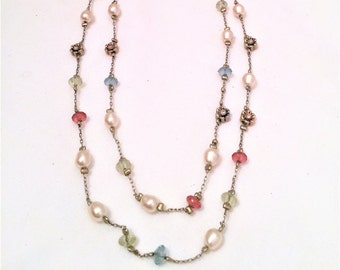 Vintage Premier Designs Silver Beads Glass Pearls Double Strand Dainty Necklace 16 - 20 inch