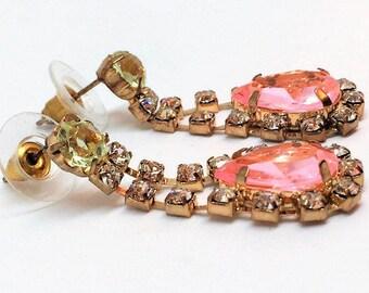 """Pink Glass Rhinestone Dangle Earrings Vintage I 1/2"""" Costume"""