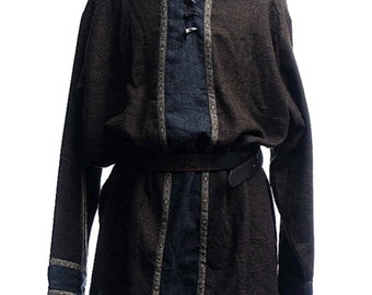 Heathered Woollen Tunic with Hood Brown/Blue