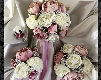 Gorgeous silk Peony wedding bouquets, Brides, Bridesmaids, Flowergirls etc