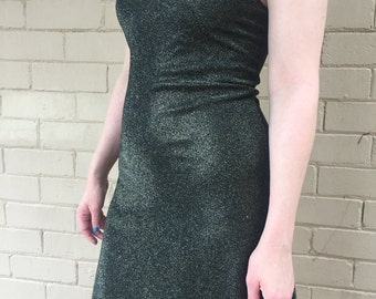 70s Style Gold Lurex Dress
