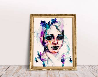 A4/A5 watercolor surreal water girl painting | magical underwater fishes aquarius woman potrait | Print