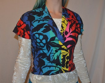 Vintage Bold Colorful Fitted Double Breasted Cropped Summer Jacket