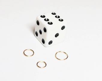 Tiny gold hoop, Cartilage earring, Gold small hoop earrings, 6mm septum ring, 5mm nose ring, Gold tragus, Helix hoop 4mm, Orbital piercing