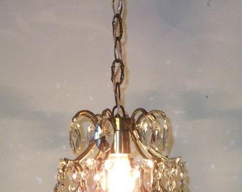 Antique Ceiling Pendant Light French Antique Vintage Round Crystal Chandelier