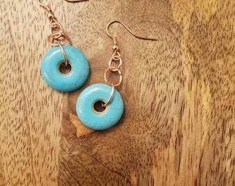 Turquoise Ring Fishhook Earrings