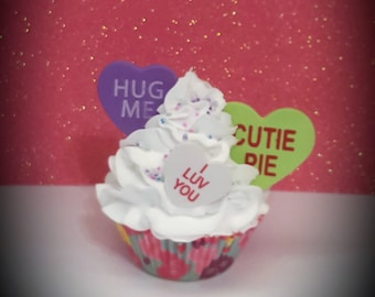 Conversation Hearts Fake Cupcake Decor / Photo Props, Valentine Gifts, Party Decorations, Displays
