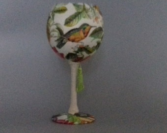 Napoli, Humming Bird, Flower and Script Wine Glass Candle Holder