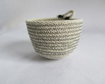 Coiled cotton braided sash cord basket. Modern rustic design. Handmade. Perfect air plant basket.