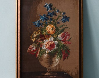 Sophisticated Bouquet of Flowers - Completed/finished handmade framed Cross Stitch (needlepoint; embroidery; gobelin; tapestry)