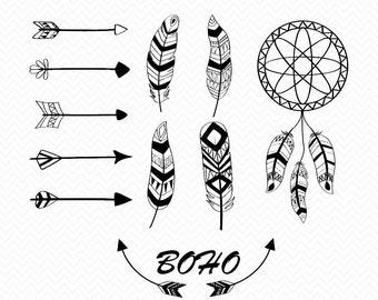 Hand drawn Boho style svg, boho svg cut files, dreamcatcher svg, feathers svg, png, dxf, arrows svg, svg files boho, tribal feathers svg,