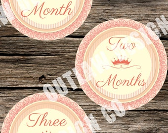 Baby Girl Monthly Milestone Markers Printable Instant Download Vintage Princess Queen Crown Royal Elegant Nursery Age Stickers