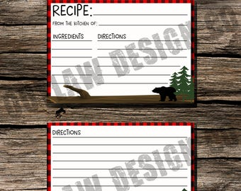 Recipe Card Instant Download Printable 3x5 Rustic Cabin Kitchen Bear Plaid Lodge Woodland Outdoor Woodsy Bridal Shower Novelty