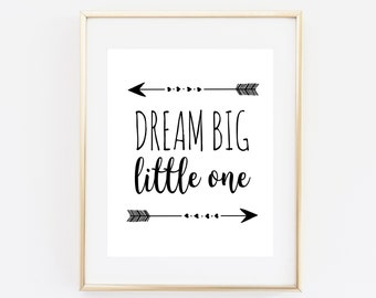 Dream big little one, nursery decor, nursery printable, baby room wall art, nursery quote, typography art print, nursery wall art, baby boy