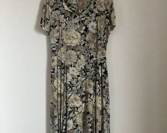 Vintage Neutral Long Floral Summer Dress