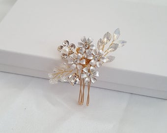 Wedding Hair Pin, Bridal Hair Comb, Bridal Comb, Gold Hair Accessories, Rose Gold Hair Jewelry