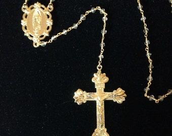 Gold cross rosary necklace. Decorative Rosary. Unique rosary necklace. Rosary beads, gold wire wrapped Smokey topaz. Religious jewelry.